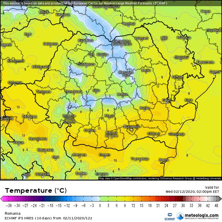 Prognoza meteo Romania 12 Februarie 2020 Romania (Romania weather forecast for today).