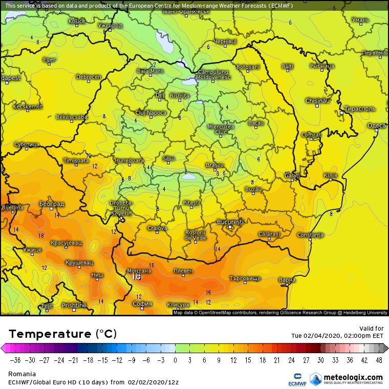 Prognoza meteo Romania 3 Februarie 2020 Romania (Romania weather forecast for today).