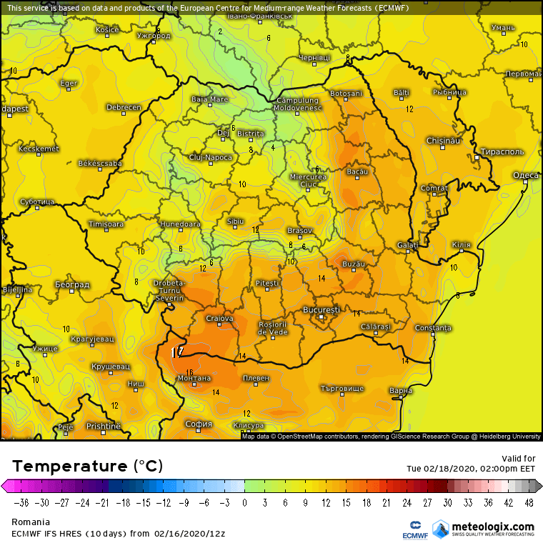 Prognoza meteo Romania 17 Februarie 2020 Romania (Romania weather forecast for today).