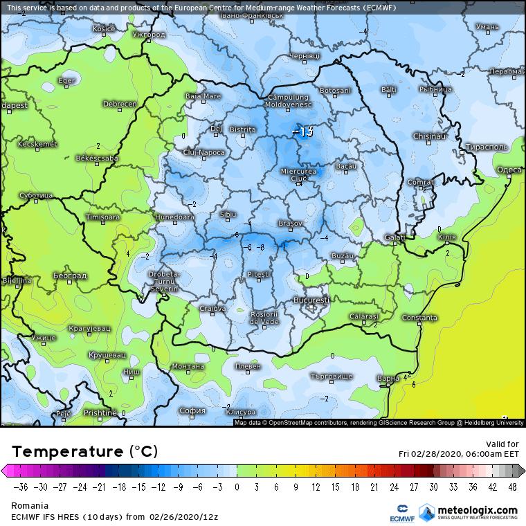 Prognoza meteo Romania 27 Februarie 2020 Romania (Romania weather forecast for today).