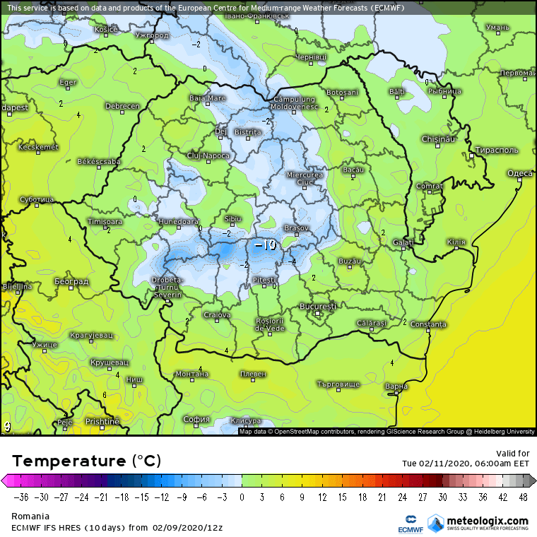 Prognoza meteo Romania 10 Februarie 2020 Romania (Romania weather forecast for today).