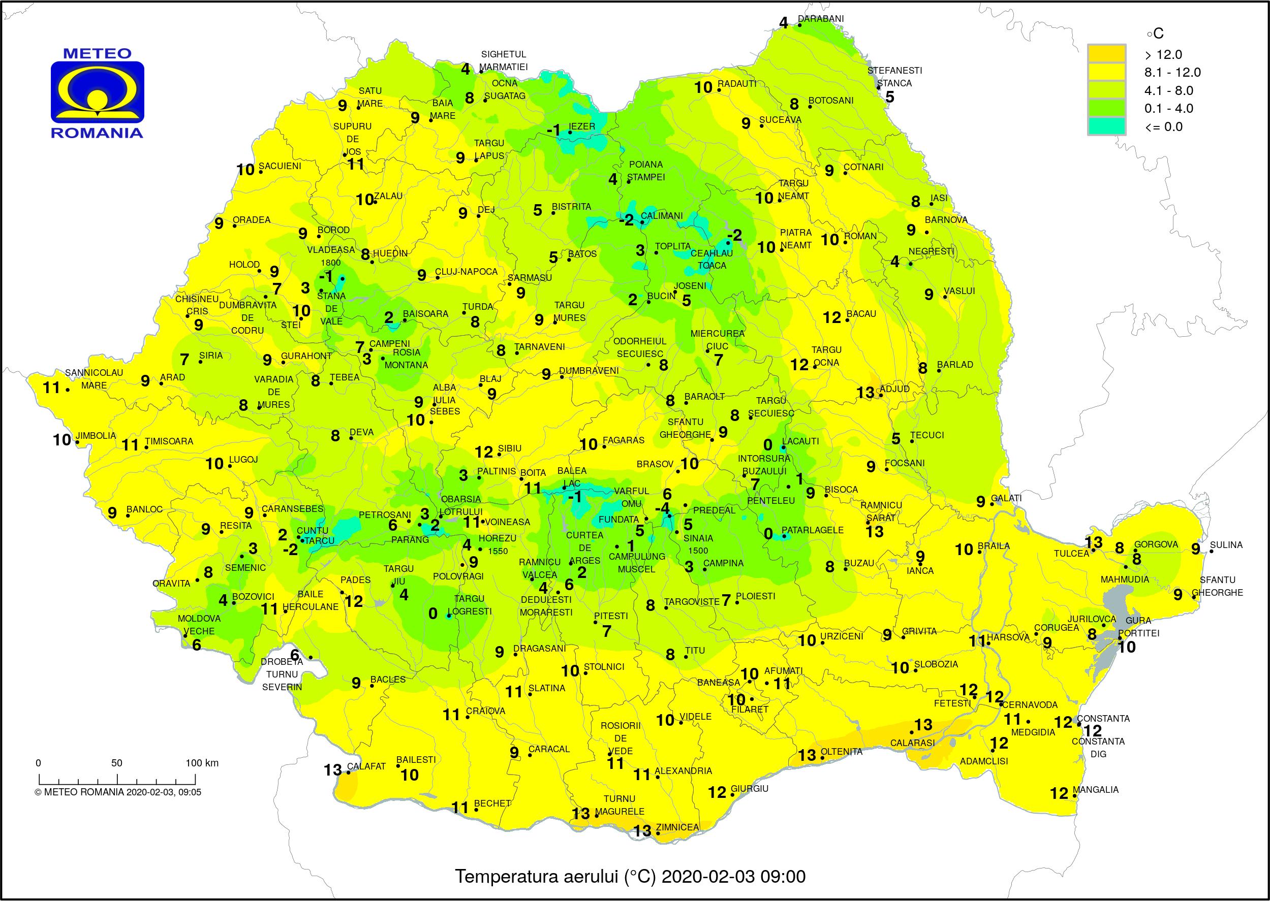 Temperaturi ora 9 Romania