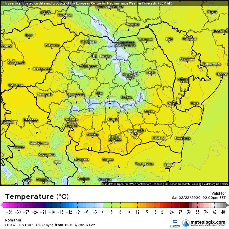 Prognoza meteo Romania 21 Februarie 2020 Romania (Romania weather forecast for today).