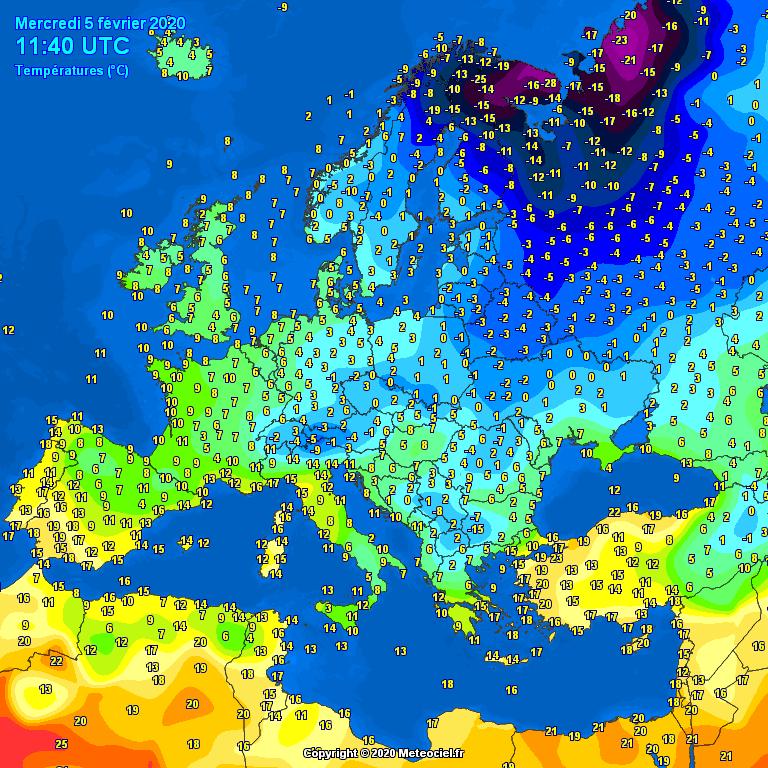 Temperatures Europe at noontime - Major cities temperature #weather (Temperaturile pranzului in Europa)
