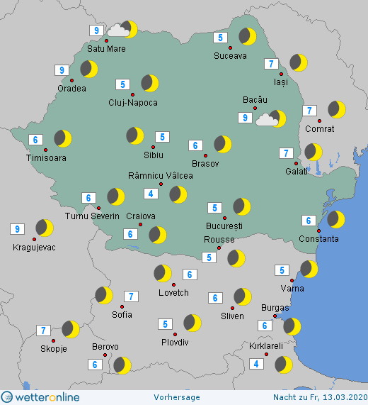 Prognoza meteo Romania 12 Martie 2020 Romania (Romania weather forecast for today).