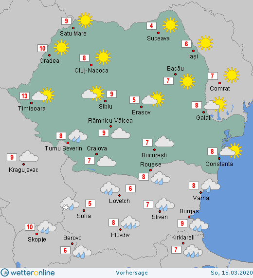 Prognoza meteo Romania  14 - 15 Martie 2020 #Romania (Romania weather forecast for today).