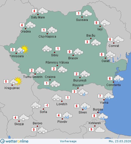 Prognoza meteo Romania 23 Martie 2020 Romania (Romania weather forecast for today).
