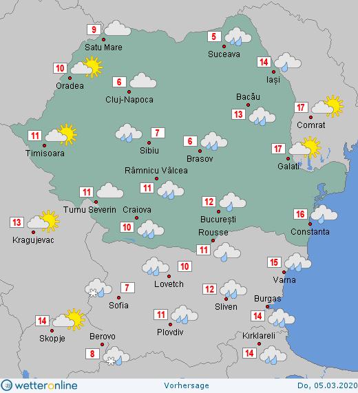 Prognoza meteo Romania 5 Martie 2020 #Romania #vremea