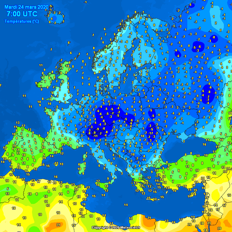Temperatures on Europe this morning - Major cities temperatures #weather (Temperaturile diminetii in Europa)