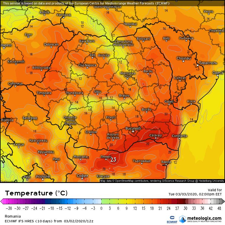 Prognoza meteo Romania 3 Martie 2020 Romania (Romania weather forecast for today).