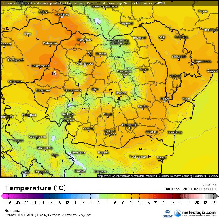 Prognoza meteo Romania 26 Martie 2020 Romania (Romania weather forecast for today).