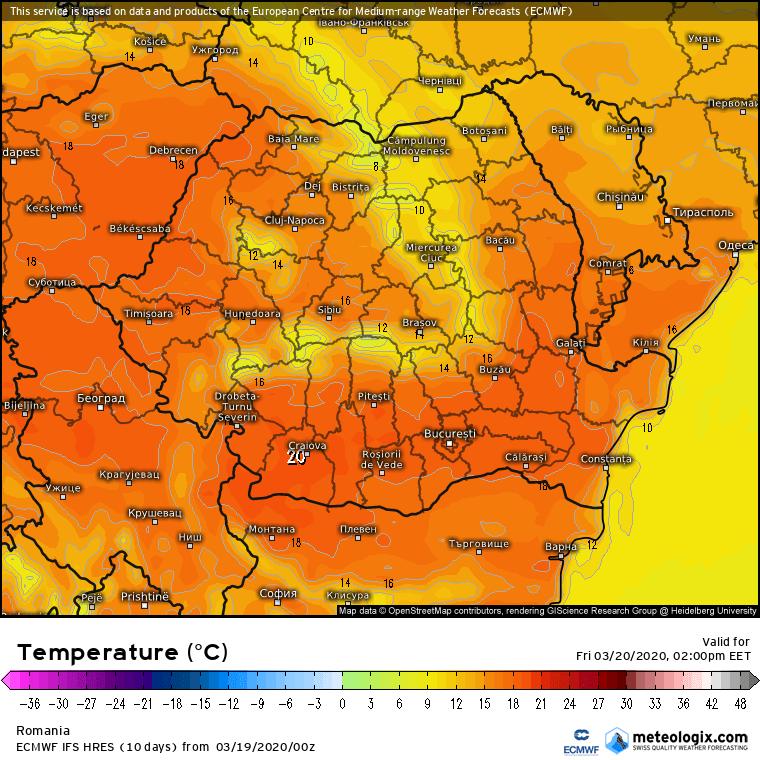 Prognoza meteo Romania 19 Martie 2020 Romania (Romania weather forecast for today).