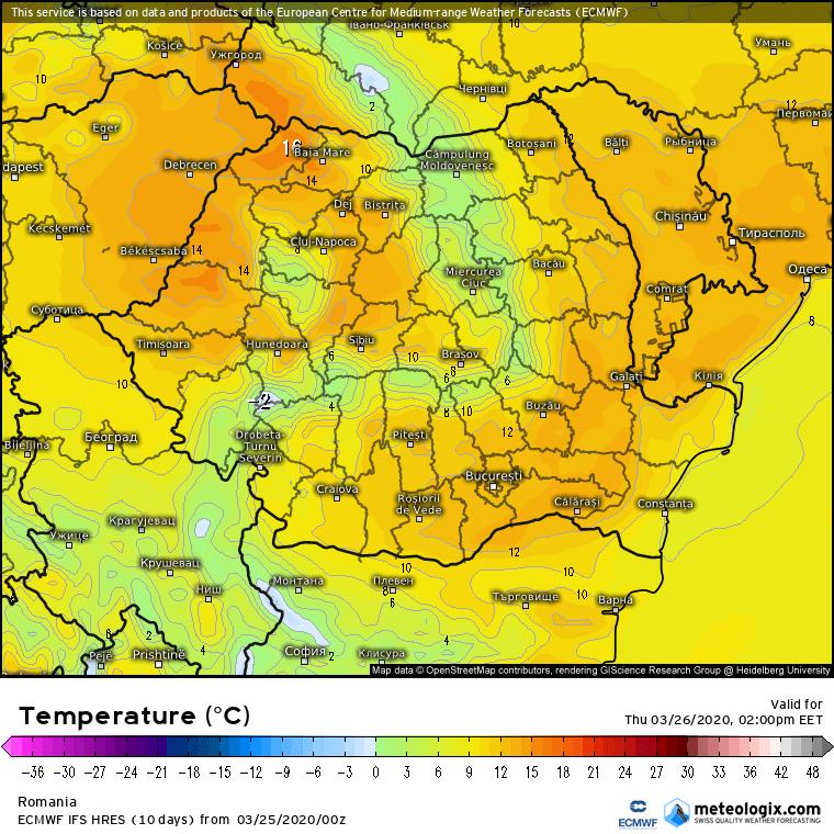 Prognoza meteo Romania 25 Martie 2020 Romania (Romania weather forecast for today).