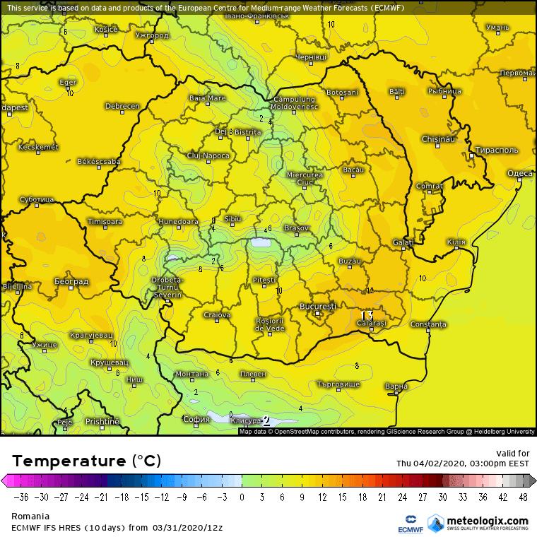 Prognoza meteo Romania 1 Aprilie 2020 Romania (Romania weather forecast for today).