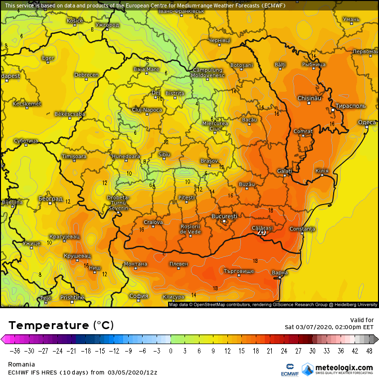Prognoza meteo Romania 6 Martie 2020 Romania (Romania weather forecast for today).