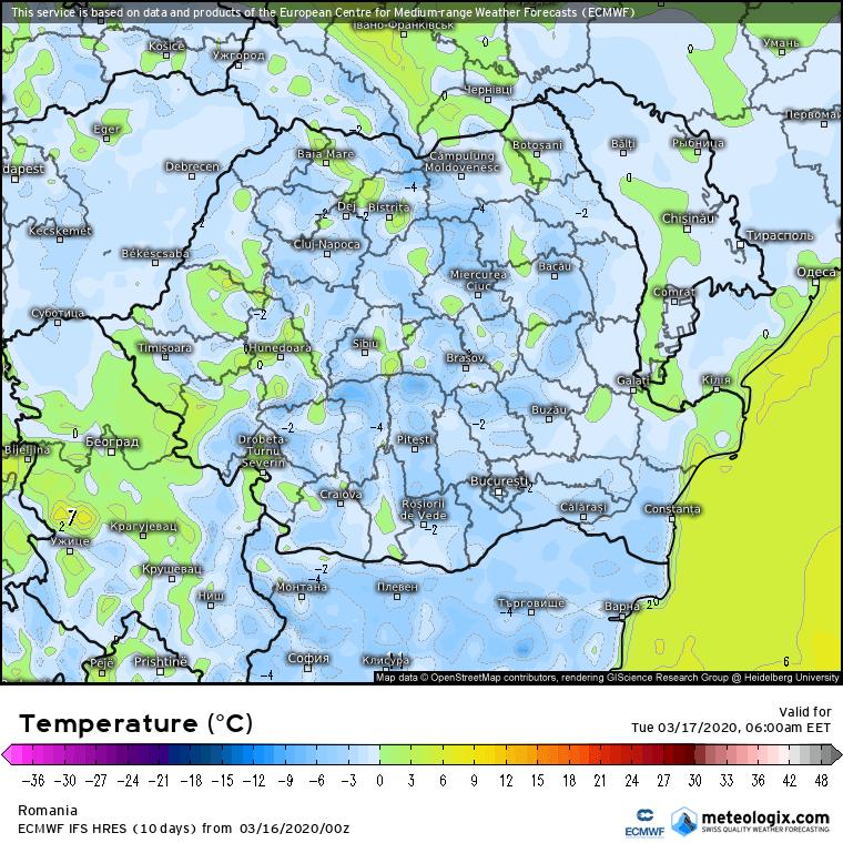 Prognoza meteo Romania 16 Martie 2020 Romania (Romania weather forecast for today).