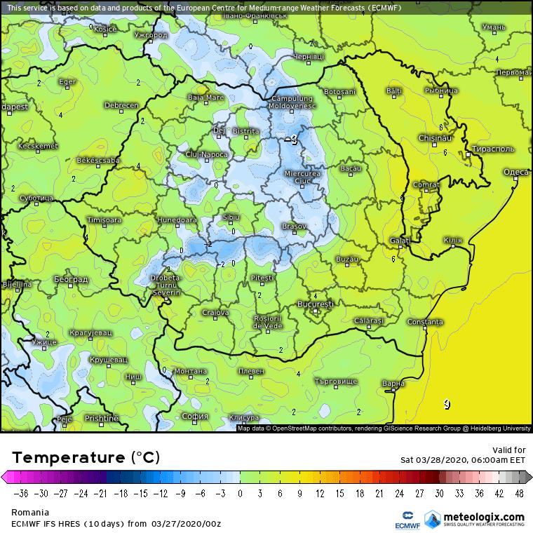 Prognoza meteo Romania 27 Martie 2020 Romania (Romania weather forecast for today).