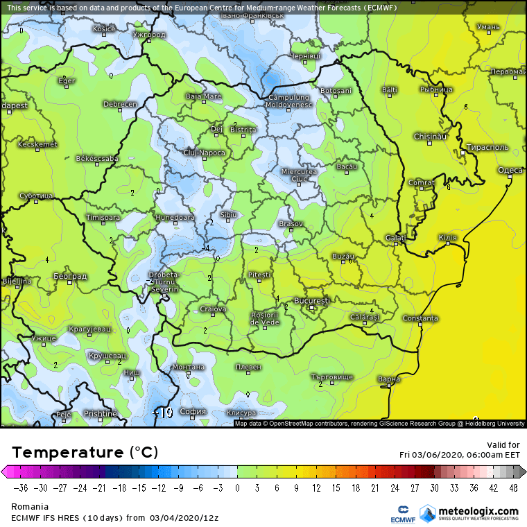Prognoza meteo Romania 5 Martie 2020 Romania (Romania weather forecast for today).
