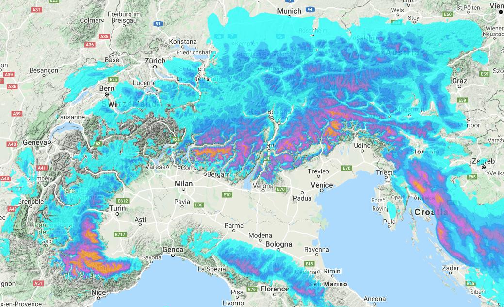 Alps snow forecast #snow #ski (Ninsori pentru 6 zile in Alpi)