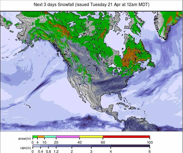 Precipitation maps North America #USA #weather (Precipitatii Statele Unite in urmatoarele 3 zile)