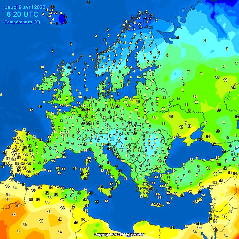 Temperatures on Europe
