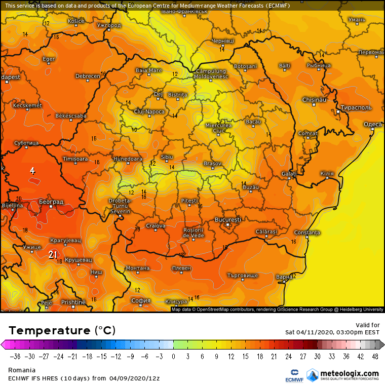 Prognoza meteo Romania 10 Aprilie 2020 Romania (Romania weather forecast for today).