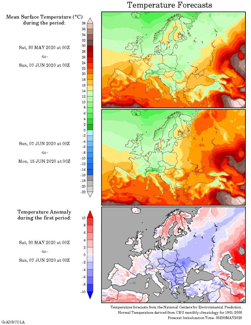 Weather forecast 2 weeks #Europe #USA #Canada (Temperaturi si precipitatii prognozate in Europa, Statele Unite si Canada saptamanile urmatoare)