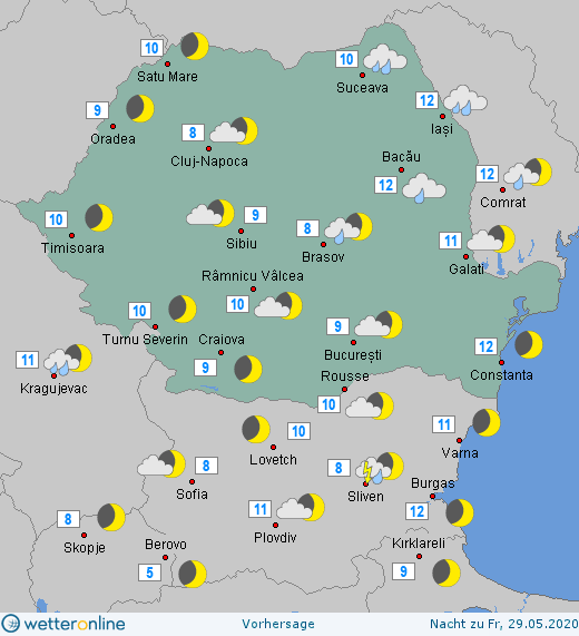 Prognoza meteo Romania 28 Mai 2020 Romania (Romania weather forecast for today).