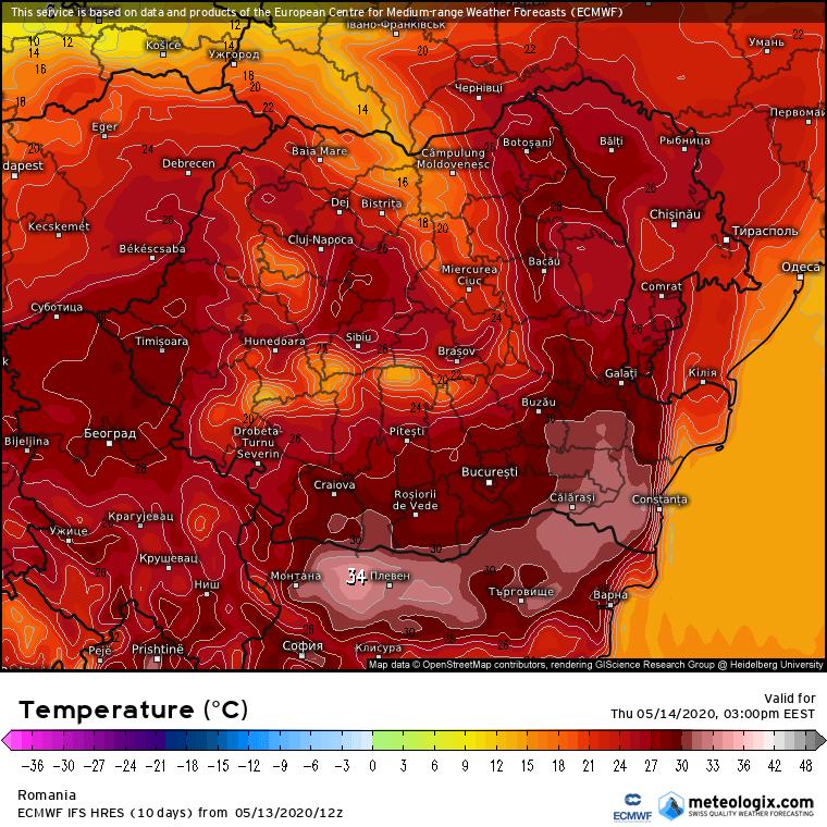 Prognoza meteo Romania 14 Mai 2020 Romania (Romania weather forecast for today).
