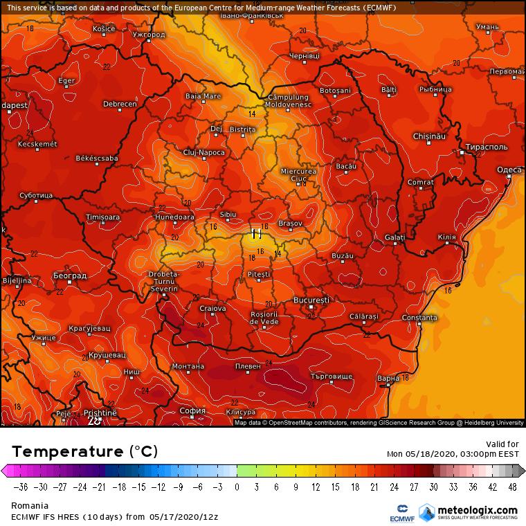 Prognoza meteo Romania 18 Mai 2020 Romania (Romania weather forecast for today).