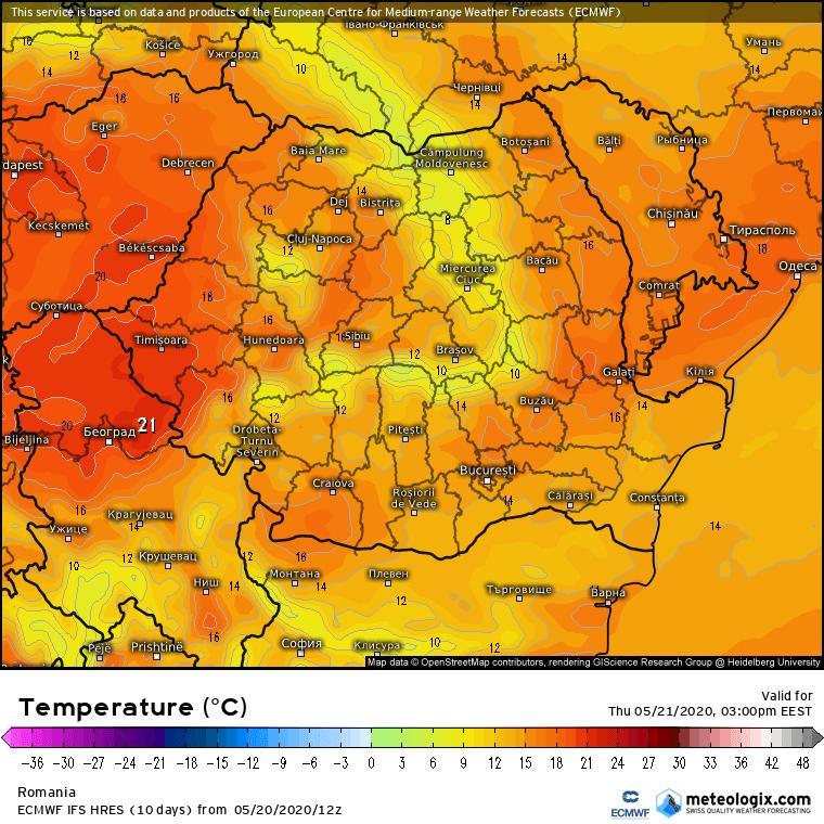 Prognoza meteo Romania 21 Mai 2020 Romania (Romania weather forecast for today).