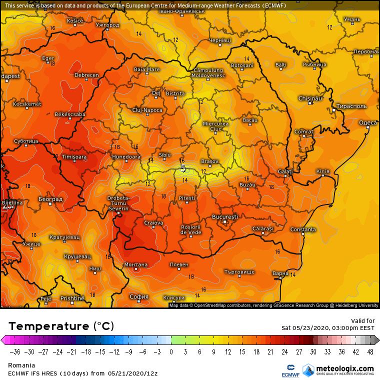 Prognoza meteo Romania 22 Mai 2020 Romania (Romania weather forecast for today).