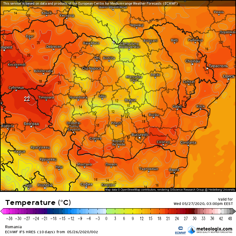 Prognoza meteo Romania 26 Mai 2020 Romania (Romania weather forecast for today).