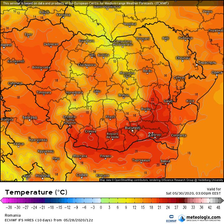 Prognoza meteo Romania 29 Mai 2020 Romania (Romania weather forecast for today).