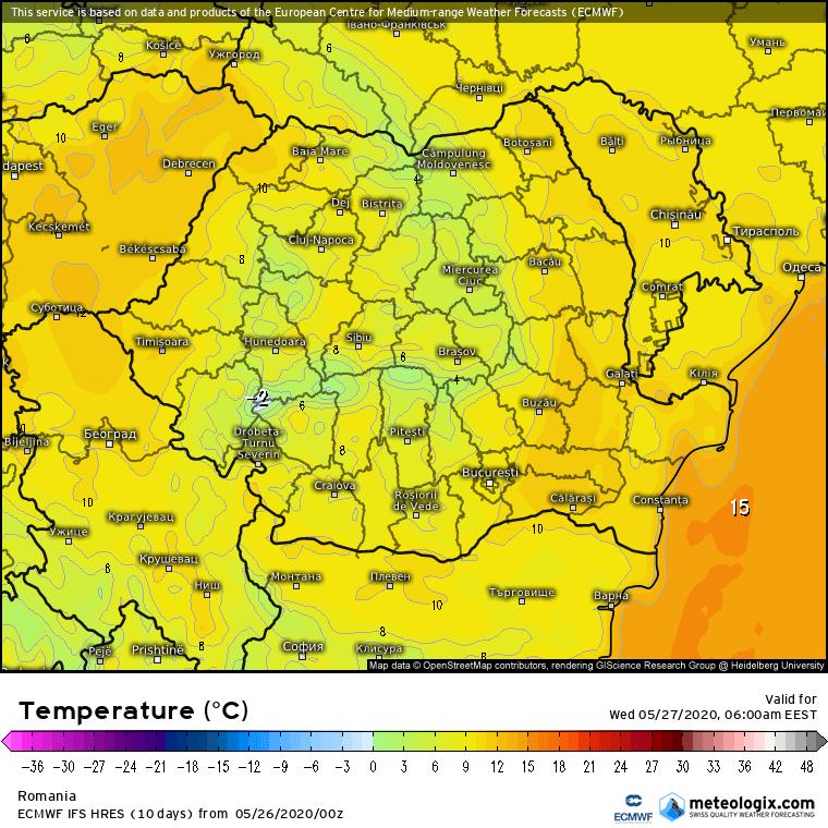 Prognoza meteo Romania 26 Mai 2020 Romania (Romania weather forecast for today).