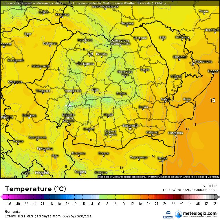 Prognoza meteo Romania 27 Mai 2020 Romania (Romania weather forecast for today).