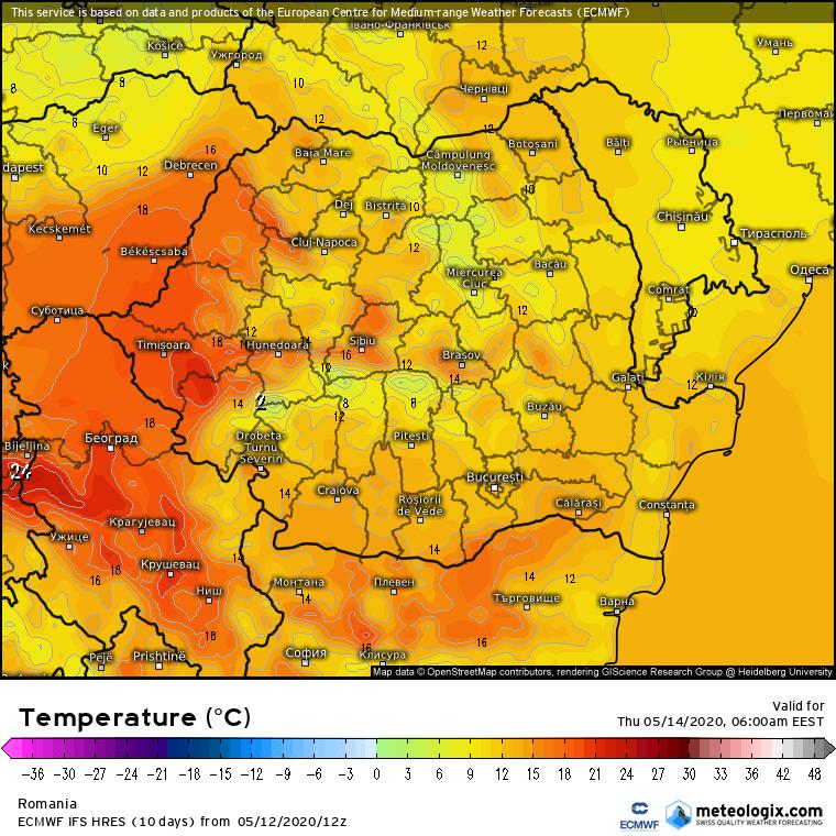 Prognoza meteo Romania 13 Mai 2020 Romania (Romania weather forecast for today).