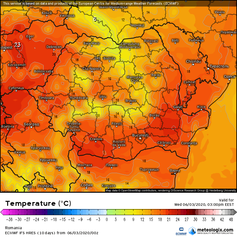 Prognoza meteo Romania 3 Iunie 2020 Romania (Romania weather forecast for today).