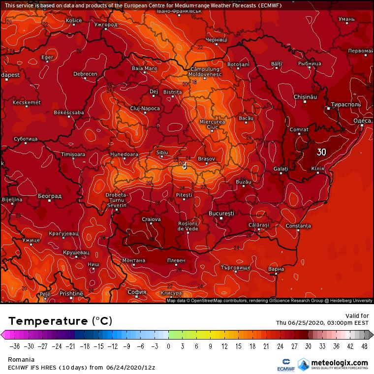 Prognoza meteo Romania 25 Iunie 2020 Romania (Romania weather forecast for today).