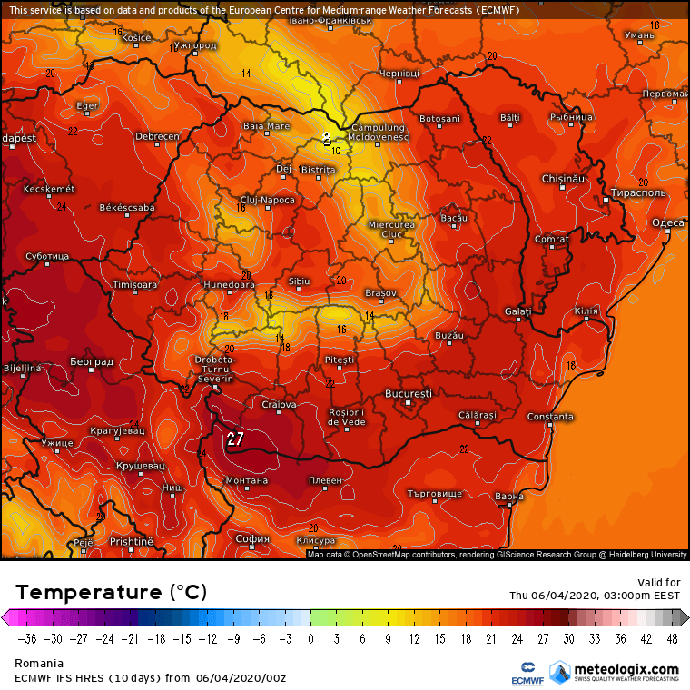 Prognoza meteo Romania 4 Iunie 2020 Romania (Romania weather forecast for today).