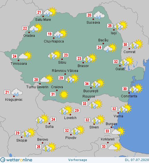 Prognoza meteo Romania 7 Iulie 2020 Romania (Romania weather forecast for today).