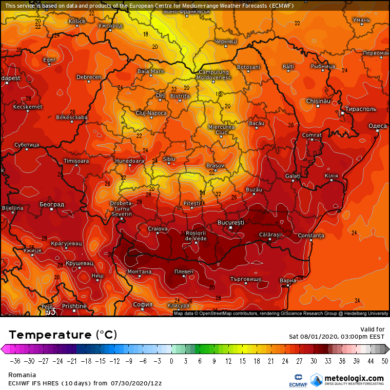 Prognoza meteo Romania 31 Iulie 2020 Romania (Romania weather forecast for today).