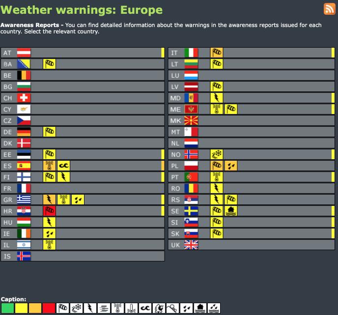 Weather warnings Europe - today and tomorrow #weatherforecast (Avertizari meteo astazi si maine in Europa)