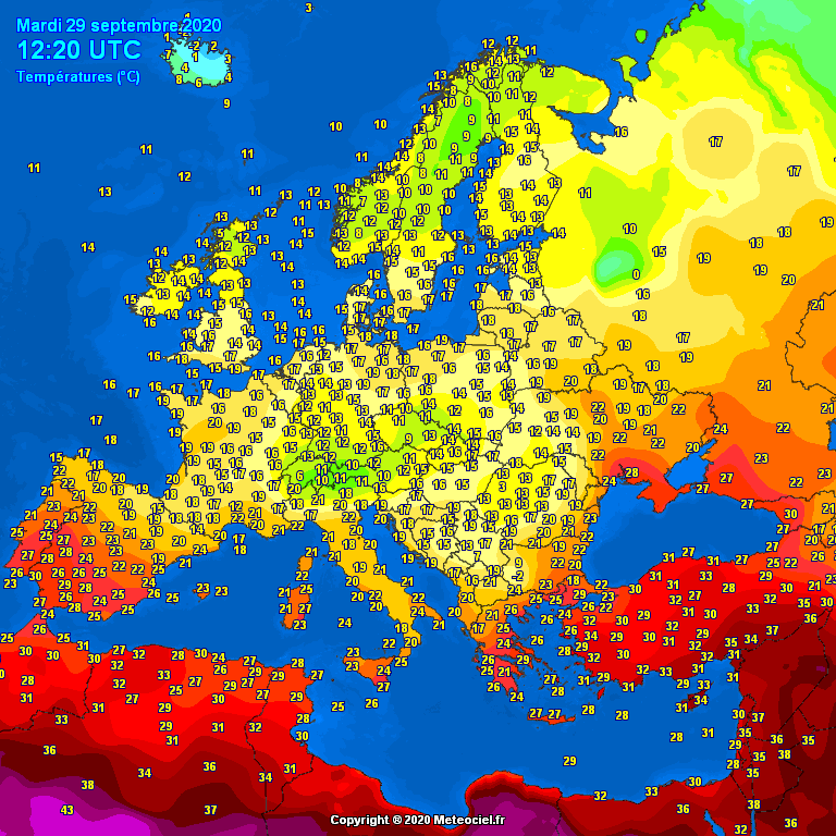 Temperatures Europe at noontime (Temperaturile pranzului în Europa)