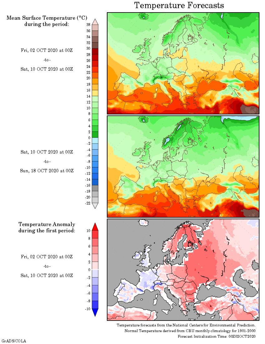 Weather forecast 2 weeks #Europe #USA (Temperaturi și precipitații)