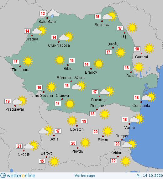 Prognoza meteo Romania 14 Octombrie 2020 (Romania weather forecast)