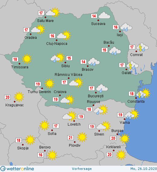 Prognoza meteo Romania 26 Octombrie 2020 (Romania weather forecast)