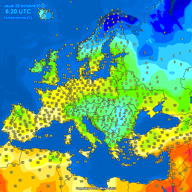 Temperatures on Europe this morning - Major cities (Temperaturile în Europa)