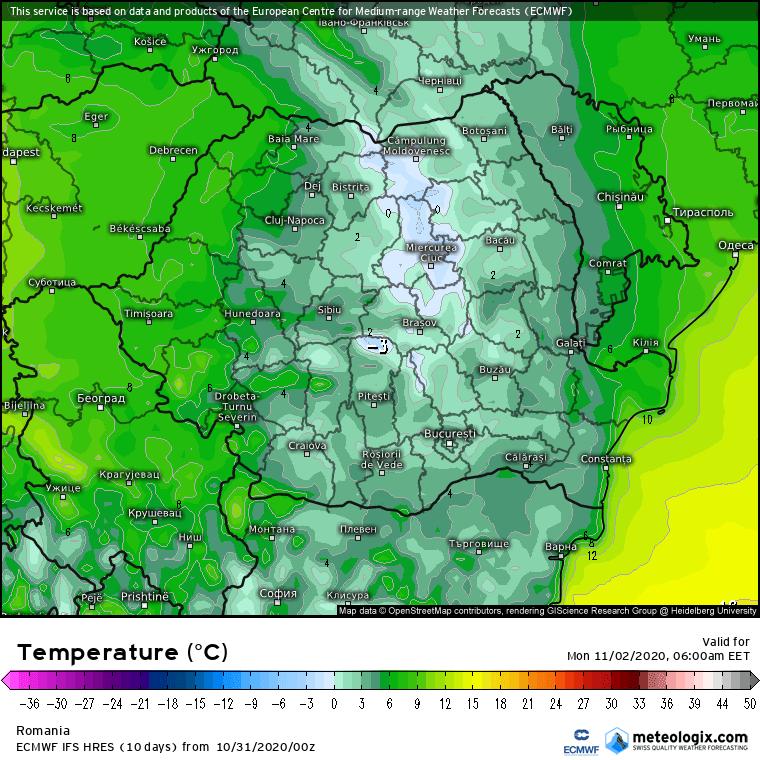 Prognoza meteo România  31 Octombrie - 1 Noiembrie (Romania  forecast).