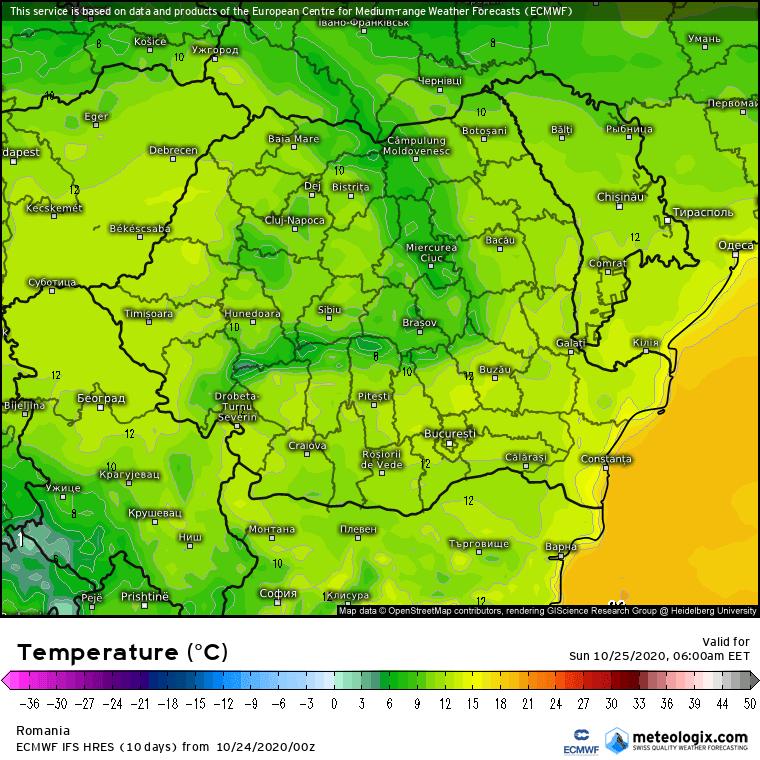 Prognoza meteo România  24 - 25 Octombrie 2020 (Romania  forecast).